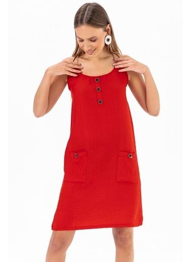 Emjey Urgan Askılı Elbise Kırmızı